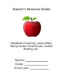 Teacher Resource Binder_cover sheet