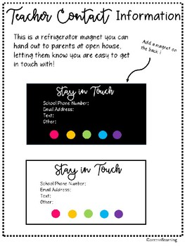 Teacher Resource Forms for Back to School