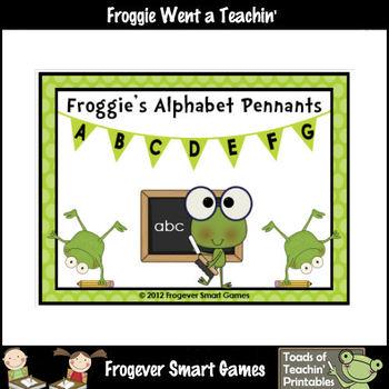 Teacher Resource -- Froggie's Alphabet Pennants (black polka dots)
