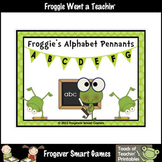 Teacher Resource -- Froggie's Alphabet Pennants (black pol