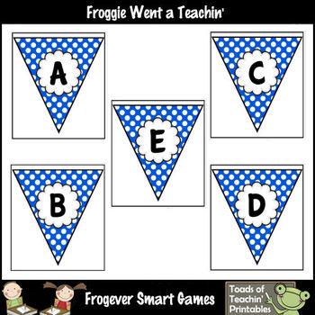 Teacher Resource -- Froggie's Alphabet Pennants (royal blue polka dot)