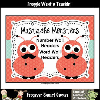 """Word Wall/Number Wall Posters--""""Mustache Monsters"""" Bundle"""