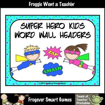 Teacher Resource--Scrappin Doodles Graphics Super Hero Kids Word Wall Headers