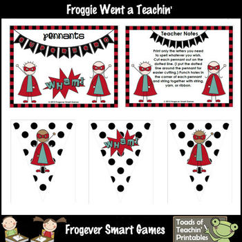 Teacher Resource -- White & Black Polka Dot Superhero Pennants