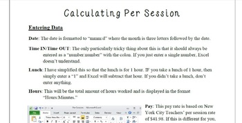 Teacher Resources: Excel Spreadsheet to calculate Per Session