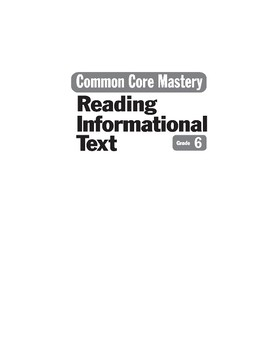 Teacher Resources (Reading Informational Text)