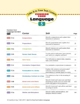 Teacher Resources (Take It to Your Seat Centers:Common Core Language)