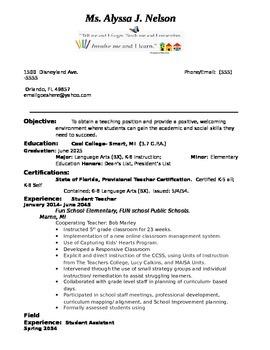 Teacher Resume information already entered