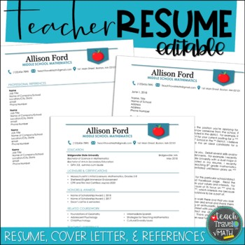 Teacher Resume, Cover Letter, & References Bundle for MS Word | EDITABLE