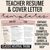 Teacher Resume & Cover Letter Template + Writing Guide (Classic Neutral Theme)