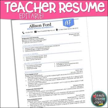 Superior Teacher Resume Monogram Theme For MS Word | EDITABLE