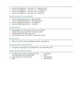 Teacher Resume Monogram Theme for MS Word | EDITABLE