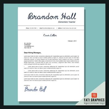 Teacher Resume, Resume Template Cover Letter + References Letter Editable Word