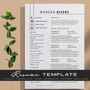 graceful teacher resume template editable 1 2 pages cover letter