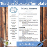Teacher Resume Template Blue Wreath Theme - Editable