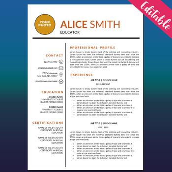 Teaching Resume Templates, Cover Letters, Word Resume, Education Teacher CV