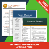 Teaching Resume Templates, Cover Letters, Word Resume, Education CV Assistant