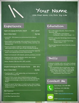 Teacher Resume Template: Chalkboard Style (Pages Format)