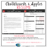 Teacher Resume Template - Chalkboards & Apples