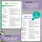 Teacher Resume Template (Clean Look - 2 colors) - EDITABLE with PowerPoint