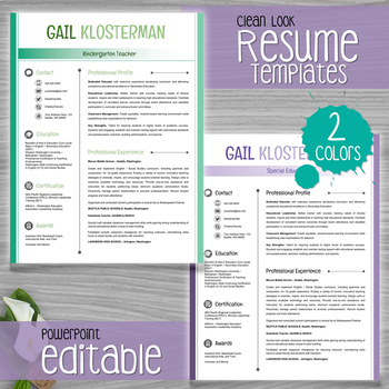 Teacher Resume Template Clean Look   Colors  Editable With