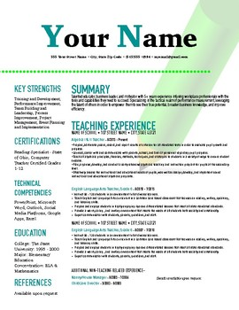 Teacher Resume Template: Clean and Modern (Pages Format)