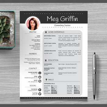 Teacher Resume Template + Cover Letter + References (Black) PowerPoint  EDITABLE