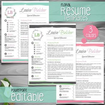 Teacher Resume Template Cover Letter References FLORAL PowerPoint EDITABLE