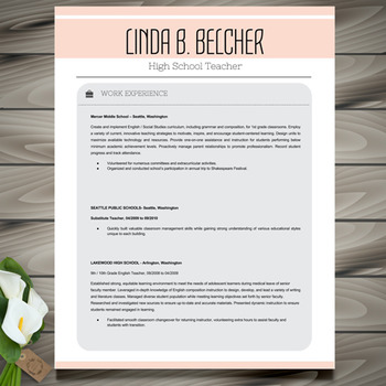 teacher resume template cover letter and references ms