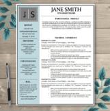 Teacher Resume Template EDITABLE - Black, Slate & Grey Theme with Initials