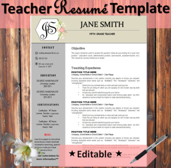 Teacher Resume Template EDITABLE