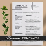 Edgy Chic Teacher Resume Template Editable 1,2 Pages + Cov