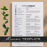 Striking Teacher Resume Template Editable 1,2 Pages + Cove