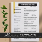 """Daring Gold """"Brooklyn"""" Teacher Resume Template Editable + Cover Letter and More."""