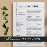 Refined Teacher Resume Template Editable 1,2 Pages + Cover