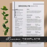 Simply Clean Teacher Resume Template Editable 1,2 Pages + Cover Letter and More.