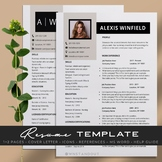 Elegant Teacher Resume Template Editable 1,2 Pages + Cover