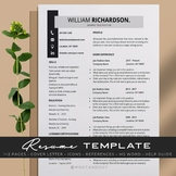 "Stylish ""Gray & Black"" Teacher Resume Template Editable."