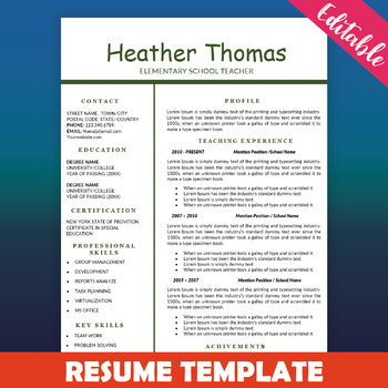 Teacher Resume Template, Education Resume, One Page CV Template  Resume One Page