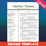 Teacher Resume Template, One Page Resume, New Teacher Resume, Education Resume
