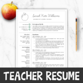 Teacher Resume Template For MS Word, Editable     Educator