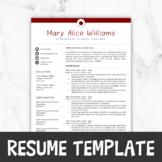 Teacher Resume Template For MS Word, Editable    Teacher R