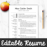 Teacher Resume Template For MS Word + Mac Pages, Editable