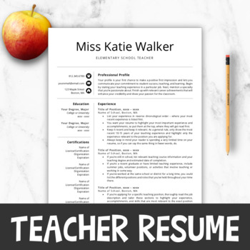 Teacher Resume Template For MS Word Mac Pages Editable Cover Letter