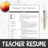 Teacher Resume Template For MS Word + Mac Pages |  Teacher Resume Writing Guide