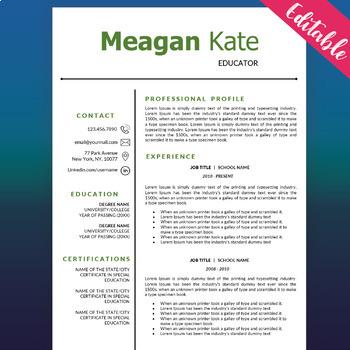 Educator Resume Template, Teacher CV for MS Word, Education Resume Template