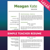 Educator Resume Template, Teacher CV for MS Word, Educatio