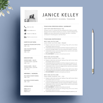 teacher resume template and matching cover letter special bonus