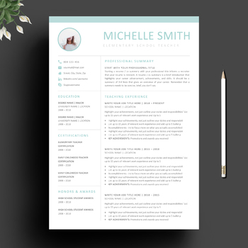 teacher resume template and matching cover letter for ms word