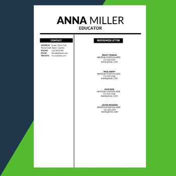 Modern Resume Template, Editable Resume, Elementary, Resume for Teachers